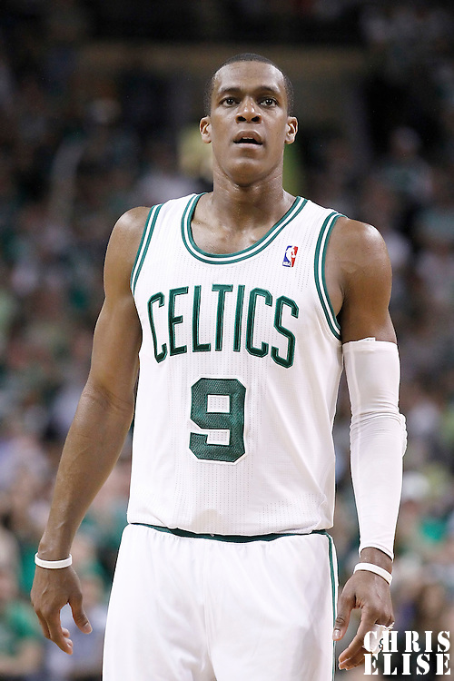 12 May 2012: Boston Celtics point guard Rajon Rondo (9) rests during the Boston Celtics 92-91 victory over the Philadelphia Sixers, in Game 1 of the Eastern Conference semifinals playoff series, at the TD Banknorth Garden, Boston, Massachusetts, USA.