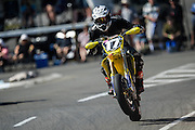 Anthony Garring from Waihi in the Supermoto race at the Cemetery Circuit Road Races, Wanganui, Boxing Day which was the 3rd and final round of the 2014 Suzuki Series
