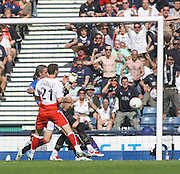 Carl Finnigan nets for Falkirk during the Homecoming Scottish FA Cup Final between Falkirk and Rangers at Hampden Park but the goal was disallowed for offside (picture by David Young - 07765 252616)