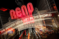 """Downtown Reno 3""  This Reno The Biggest Little City in the World sign, also know as the Reno Arch, was photographed in Reno, Nevada. The effect was obtained in camera by long exposure mixed with intentional camera movement."