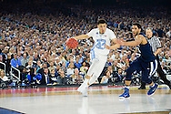 04 APR 2016: Forward Justin Jackson (44) of the University of North Carolina battles Guard Josh Hart (3) of Villanova University during the 2016 NCAA Men's Division I Basketball Final Four Championship game held at NRG Stadium in Houston, TX. Villanova defeated North Carolina 77-74 to win the national title. Brett Wilhelm/NCAA Photos