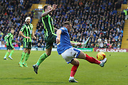 Sean Rigg of AFC Wimbledon and Ben Davies during the Sky Bet League 2 match between Portsmouth and AFC Wimbledon at Fratton Park, Portsmouth, England on 15 November 2015. Photo by Stuart Butcher.