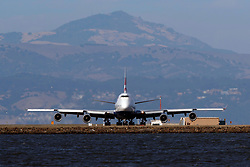 Boeing 747-436 (G-CIVG) operated by British Airways holding short, San Francisco International Airport (KSFO), San Francisco, California, United States of America