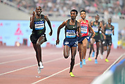 Timothy Cheruiyot (KEN) defeats Samuel Tefera (ETH) to win the 1,500m, 3:31.48 to 3:31.63, during the IAAF Diamond League Shanghai 2018 in Shanghai, China, Saturday, May 12, 2018. (Jiro Mochizukii/Image of Sport)
