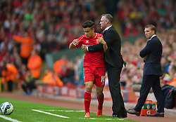 13.09.2014, Anfield, Liverpool, ENG, Premier League, FC Liverpool vs Aston Villa, 4. Runde, im Bild Liverpool's Philippe Coutinho Correia Aston Villa's manager Paul Lambert // during the English Premier League 4th round match between Liverpool FC and Aston Villa at the Anfield in Liverpool, Great Britain on 2014/09/13. EXPA Pictures © 2014, PhotoCredit: EXPA/ Propagandaphoto/ David Rawcliffe<br /> <br /> *****ATTENTION - OUT of ENG, GBR*****