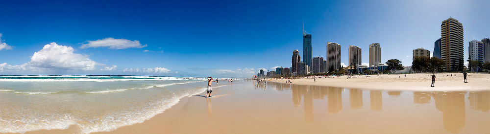 Wide-angle panorama of Surfers' Paradise at the Gold Coast, Queensland, Australia, including both the city and the city.