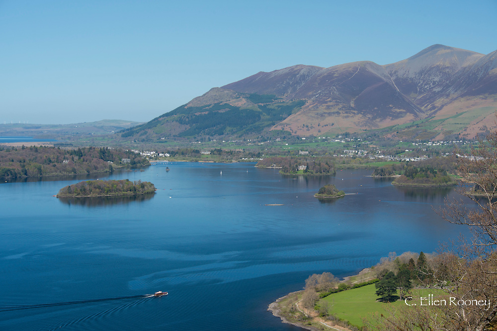 An aerial view of Derwent Water and Skiddaw in The Lake District National Park, Cumbia, UK