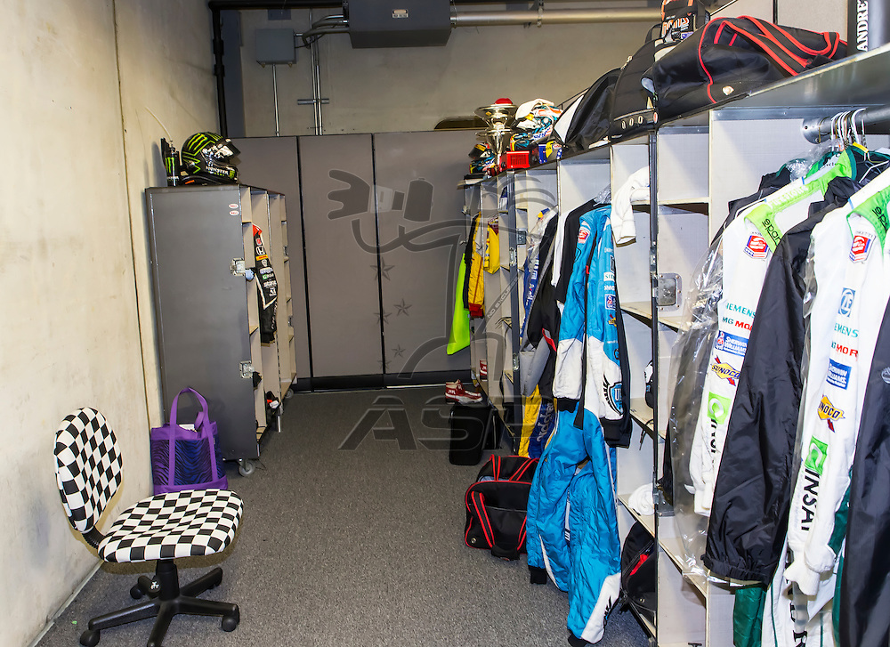 indianapolis, IN - May 16, 2014:  The locker room for Kurt Busch (26) for the Indianapolis 500 at Indianapolis Motor Speedway in indianapolis, IN.<br /> <br /> MANDATORY PHOTO CREDIT: Walter G. Arce, Sr. KBI Motorsports/ASPInc