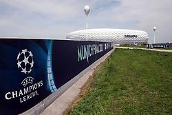 13.05.2012, Allianz Arena, Muenchen, GER, UEFA CL, Allianz Arena, im Bild Allianz Arena Muenchen wird anlaesslich des Finales um die UEFA Champions League umdekoriert und umbenannt; Schriftzug Champions League Munich Finals 2012 und Fassade des Stadions // the Allianz Arena in Munich is the occasion of the UEFA Champions League Final at the redecorated and renamed, UEFA Champions League logo on the facade of the stadium, Munich, Germany on 2012/05/13. EXPA Pictures © 2012, PhotoCredit: EXPA/ Eibner/ RR     ATTENTION - OUT OF GER *****