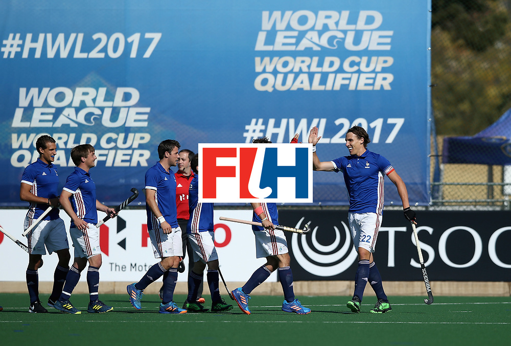 JOHANNESBURG, SOUTH AFRICA - JULY 11:  Victor Charlet of France celebrates scoring their teams first goal with teammates during day 2 of the FIH Hockey World League Semi Finals Pool A match between Australia and France at Wits University on July 11, 2017 in Johannesburg, South Africa.  (Photo by Jan Kruger/Getty Images for FIH)