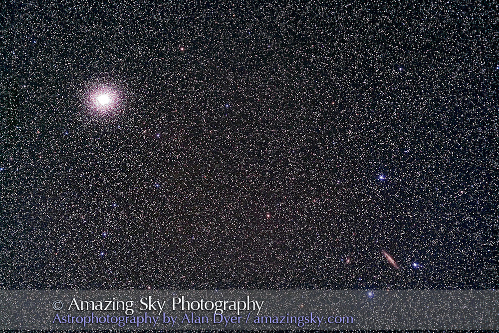NGC 4945 (right corner) with Omega Centauri cluster. Taken with 77mm Borg astrographic refractor at f/4.3 and Hutech-modified Canon 5D camera at ISO 400 for stack of 5 x 8 minute exposures. Taken from Coonabarabran, NSW, Australia, April 17, 2007.