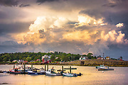 Featured as a two page spread in the August 2014 issue of Down East Magazine's '60 Most Beautiful Places in Maine', this image featured Garrison Cove and the Cribstone Bridge connecting Orr's and Bailey Islands as a large summer thunderstorm passes overhead.