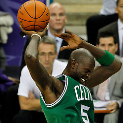 December 28, 2011; New Orleans, LA, USA; Boston Celtics power forward Kevin Garnett (5) loses the ball during the second quarter of a game against the New Orleans Hornets at the New Orleans Arena.   Mandatory Credit: Derick E. Hingle-US PRESSWIRE