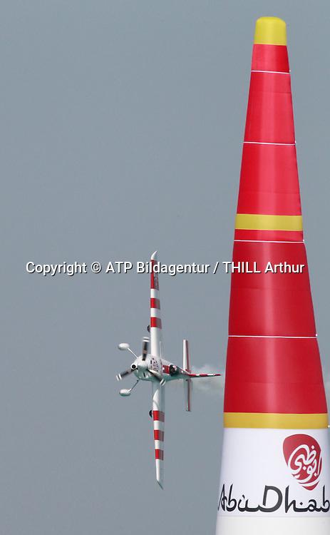 Paul BONHOMME, GBR, Winner of the Red Bull Air Race in Abu Dhabi / Air Plane EDGE 540 V2 - <br /> ABU DHABI 14. February 2015 - Air Race, Red Bull Air Race event in the United Arab Emirates - UAE, <br /> Flugzeug Rennen in den Vereinigte Arabische Emirate, Honorarpflichtiges Foto, Fee liable image, Copyright &copy; ATP THILL Arthur