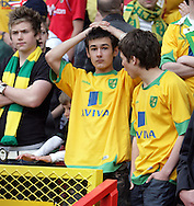 London - Sunday, May 3rd, 2009: Dejected Norwich City supporters after the Coca Cola Championship match at The Valley, London. (Pic by Mark Chapman/Focus Images)
