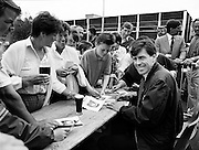 Packie Bonner signing autographs for fans at the Guinness Family Fun Day, an event for Guinness employees and their families at the Iveagh Gardens in Dublin.<br />