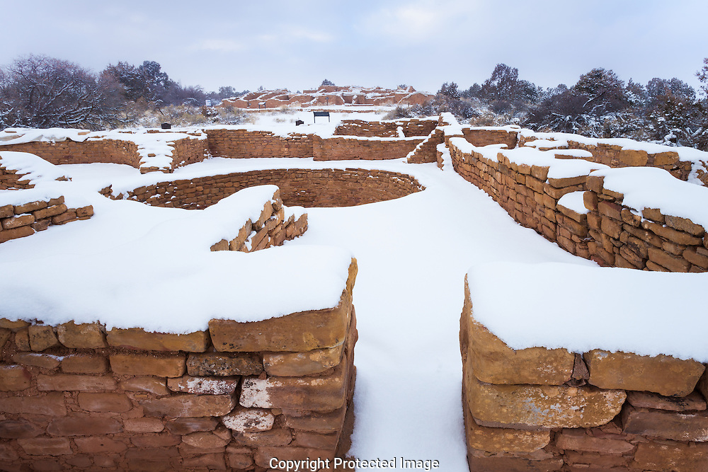Far View ruin, snow, Mesa Verde National Park, CO