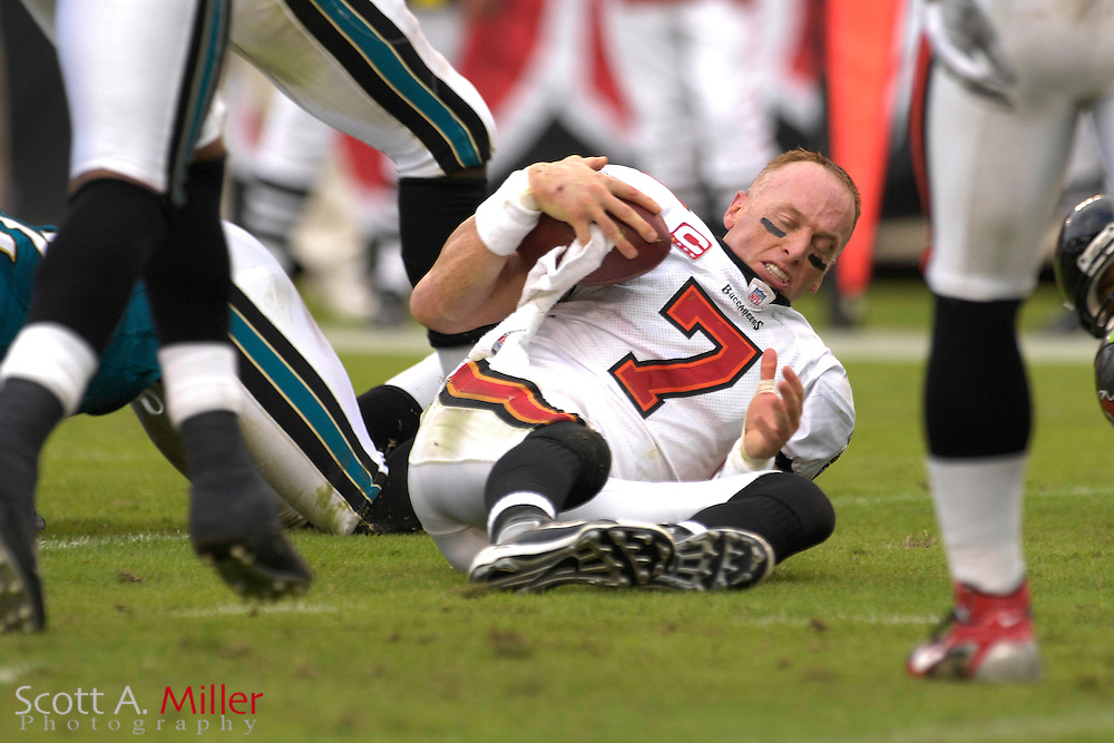 Tampa Bay Buccaneers quarterback (7) Jeff Garica loses his helmet after being tackled late in the first half of the Bucs game against the Jacksonville Jaguars at Raymond James Stadium on Oct. 28, 2007 in Tampa, Florida.       ..©2007 Scott A. Miller