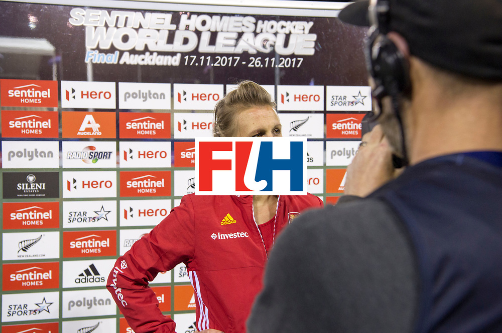 AUCKLAND - Sentinel Hockey World League final women<br /> Match id 10298<br /> 08 Argentina v England 1-0<br /> Foto: TV interview after match with Delfina Merino and Alex Danson( C) <br /> WORLDSPORTPICS COPYRIGHT FRANK UIJLENBROEK