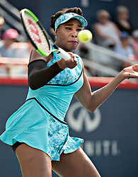 MONTREAL, Aug. 7, 2018  Venus Williams of the United States hits a return during the first round of women's singles match against Caroline Dolehide of the United States at the 2018 Rogers Cup in Montreal, Canada, Aug. 6, 2018. Venus Williams won 2-0. (Credit Image: © Andrew Soong/Xinhua via ZUMA Wire)