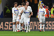 Leeds United celebrate goal scored by Leeds United forward Tyler Roberts (11)  to go 0-1 during the EFL Sky Bet Championship match between Hull City and Leeds United at the KCOM Stadium, Kingston upon Hull, England on 2 October 2018.Photo. Ian Lyall