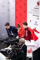 KELOWNA, BC - OCTOBER 26:  Feiyao Tang and Yongchao Yang of China await their score in pairs free skate during Skate Canada International at Prospera Place on October 25, 2019 in Kelowna, Canada. (Photo by Marissa Baecker/Shoot the Breeze)