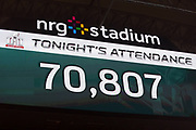 The scoreboard posts tonight's attendance as 70,807 during the New England Patriots Super Bowl LI football game against the Atlanta Falcons on Sunday, Feb. 5, 2017 in Houston. The Patriots won the game 34-28 in overtime. (©Paul Anthony Spinelli)