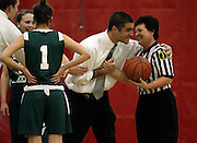 New Providence Head Coach Cap Pazdera thanks one of the referees after overtuning a call in his teams favor during the North Jersey Section 2, Group 1, girls basketball final.