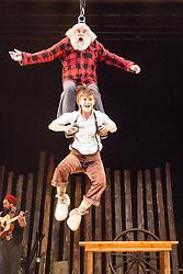 © Licensed to London News Pictures. 11/07/2013. It's the The UK debut of Cirque Alfonse with Timber! This is the UK premier and the first of Southbank Centre's two big summer shows for 2013.  The family: Alain Carabinier (66) his children Antoine Carabinier-Lépine (32 biggest beard!) and Julie Carabinier-Lépine (29), her son Arthur Casaubon (2), plus Jonathan Casaubon (33 other beard!), Arthur's father and Julie's partner Matias Salmenaho (26 ginger beard and dungarees!). Picture shows Julie Carabinier-Lépine & Alain Carabinier. Photo credit: Tony Nandi/LNP