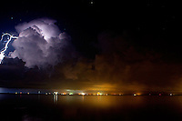 Aug 25, 2009; Titusville, FL USA; A thunderstorm scrubs the launch of STS-128 Discovery at Titusville, FL.