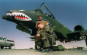 (FILES) US Lieutenant logs his flight in front of an A-10 aircraft at the King Khaled military airport, near Dahran, 02 November 1990 during the Gulf war. Washington played down 05 January 2001 mounting European concern over use of depleted uranium shells in the Balkans and in the Gulf as the number of cancer cases growed among troops who served as peacekeepers in the region. Europe called 04 January 2001 for an urgent inquiry into NATO's use of the weapons and the suspected health risks. AFP PHOTO BOB PEARSON
