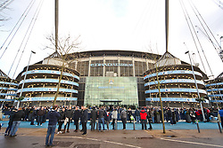 A general view of the Etihad Stadium before kick off as fans await the team coach - Photo mandatory by-line: Matt McNulty/JMP - Mobile: 07966 386802 - 24/01/2015 - SPORT - Football - Manchester - Etihad Stadium - Manchester City v Middlesbrough - FA Cup Fourth Round