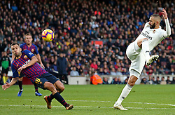 October 28, 2018 - Barcelona, Catalonia, Spain - Karim Benzema and Jordi Alba during the match between FC Barcelona and Real Madrid CF, corresponding to the week 10 of the Liga Santander, played at the Camp Nou, on 28th October 2018, in Barcelona, Spain. (Credit Image: © Joan Valls/NurPhoto via ZUMA Press)