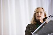 Lynn Johnson gives a speech after receiving a Medal of Merit at the Alumni Awards Gala on October 6, 2017.