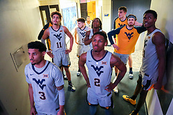Dec 1, 2018; Morgantown, WV, USA; West Virginia Mountaineers players wait before being introduced before their game against the Youngstown State Penguins at WVU Coliseum. Mandatory Credit: Ben Queen-USA TODAY Sports