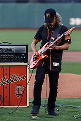 SAN FRANCISCO, CA - MAY 06: Recording artist Kirk Hammett of the rock band Metallica performs the national anthem on the field before the game between the San Francisco Giants and the Colorado Rockies at AT&T Park on May 6, 2016 in San Francisco, California. The San Francisco Giants defeated the Colorado Rockies 6-4. (Photo by Jason O. Watson/Getty Images) *** Local Caption *** Kirk Hammett