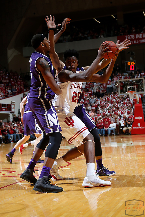 Indiana forward De'Ron Davis (20) in action as Northwestern played Indiana in an NCCA college basketball game in Bloomington, Ind., Saturday, Feb. 25, 2017. (AJ Mast)