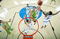 Zoran Dragic of Slovenia vs Georgios Printezis of Greece during basketball match between Slovenia vs Greece at Day 5 in Group C of FIBA Europe Eurobasket 2015, on September 9, 2015, in Arena Zagreb, Croatia. Photo by Vid Ponikvar / Sportida