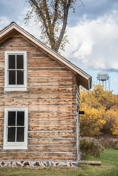 An historic log cabin in Negaunee, Michigan along the Iron Ore Heritage Trail, a multiuse recreation trail connecting communities in Marquette County on Michigan's Upper Peninsula.