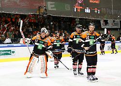 23.10.2016, Merkur Eisarena, Graz, AUT, EBEL, Moser Medical Graz 99ers vs EC VSV, 13. Runde, im Bild Sebastian Dahm (#31, Moser Medical Graz 99ers), Thomas Pöck (#22, Moser Medical Graz 99ers), Alexander Feichtner (#58, Moser Medical Graz 99ers) und Brendon Nash (#4, Moser Medical Graz 99ers) // during the Erste Bank Icehockey League 13th Round match between Moser Medical Graz 99ers and EC VSV at the Merkur Ice Arena, Graz, Austria on 2016/10/23, EXPA Pictures © 2016, PhotoCredit: EXPA/ Erwin Scheriau
