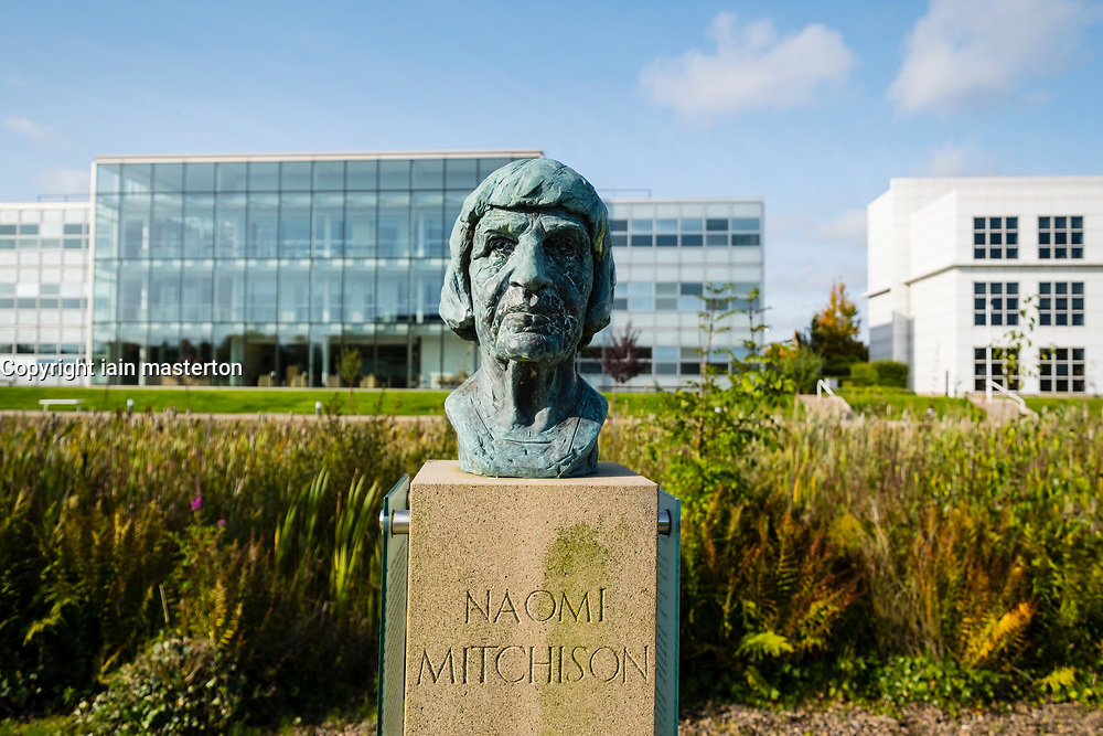 Bust of Scottish novelist and poet Naomi Mitchison at  at Edinburgh Park a modern business park at South Gyle in Edinburgh, Scotland, United Kingdom.