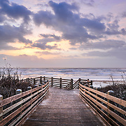 Beach boardwalk at sunrise in Port Aransas, Texas