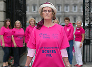 Repro Free: 30/09/2014<br /> Breast Cancer Survivour Tereasa Doran from Mullingar joined the Irish Cancer Society and cancer campaigners from across Ireland as they submit a petition to Government, calling on the Minister for Health to take action and include extending the breast cancer screening programme for women aged 65-69 in the HSE&rsquo;s Services Plan for 2015. The Government said the extension of BreastCheck would take place during 2014 but then made a decision to defer it. At least eighty-seven lives are being lost to breast cancers every year due to the delay in screening the upper age group of women.  Picture Andres Poveda