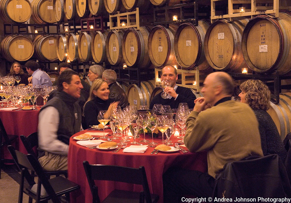 Guests enjoy private cellar club dinner at Bergstrom Winery, Yamhill-Carlton AVA, Willamette Valley, Oregon