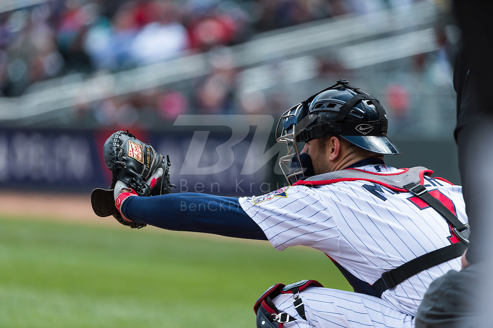 Joe Mauer #7 of the Minnesota Twins catches against the Miami Marlins in Game 1 of a split doubleheader on April 23, 2013 at Target Field in Minneapolis, Minnesota.  The Twins defeated the Marlins 4 to 3.  Photo: Ben Krause