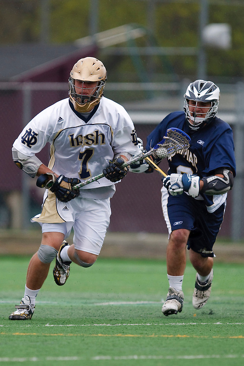 May 1, 2009:    #7 Trever Sipperly of Notre Dame and #8 Mullaney, Ben of Quinnipiac in action during the NCAA Lacrosse game between Notre Dame and Quinnipiac at GWLL Tournament in Birmingham, Michigan. (Credit Image: Rick Osentoski/Cal Sport Media)