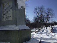 Base of the Paul Revere Statue and the Old North Bridge at Minute Man National Historic Park, Lexington, Massachusetts