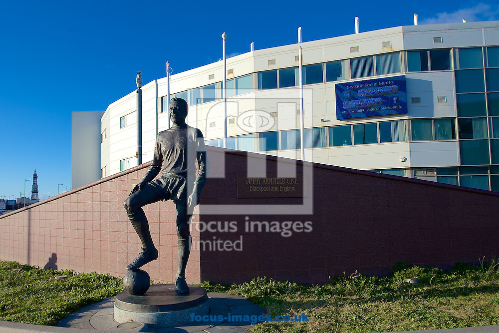 General view of the exterior of the stadium showing statue of former Blackpool player Jimmy Armfield pictured ahead of the Sky Bet Championship match at Bloomfield Road, Blackpool<br /> Picture by Ian Wadkins/Focus Images Ltd +44 7877 568959<br /> 19/08/2014