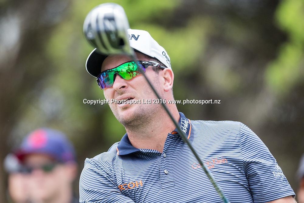 Ryan Fox (NZL) drives during the round 1 of the World Cup of Golf at Kingston Heath Golf Club, Melbourne Australia. Thursday 24th November 2016. Copyright Photo Brendon Ratnayake / www.photosport.nz