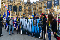 Protesters from The Limbo Project EU citizens with family connections to British citizens or who reside in the UK and British citizens who live in the EU highlight the uncertainty of their futures in the countries they now call home. London, January 15 2019.